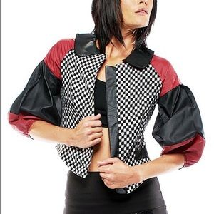 Nuvula crop colorblock jacket with faux leather
